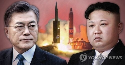文在寅(左)与金正恩(韩联社)