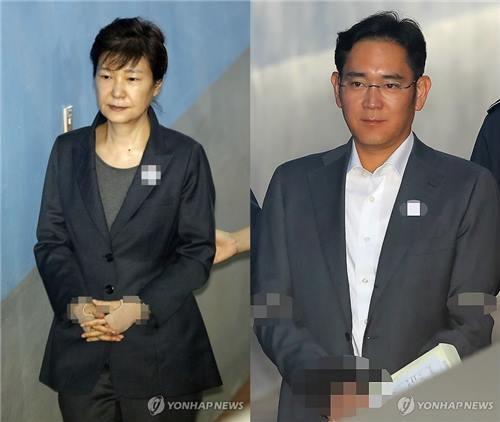 资料图片:左为朴槿惠,右为李在镕。(韩联社)