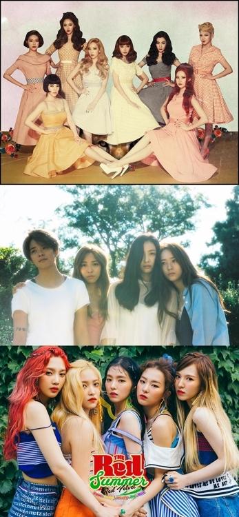 (从上到下)少女时代、F(X)、Red Velvet(韩联社)