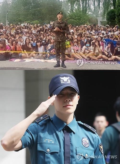 上图为7月12日上午Super Junior成员银赫退伍(Lable SJ提供),下图为东海退伍照。(韩联社)