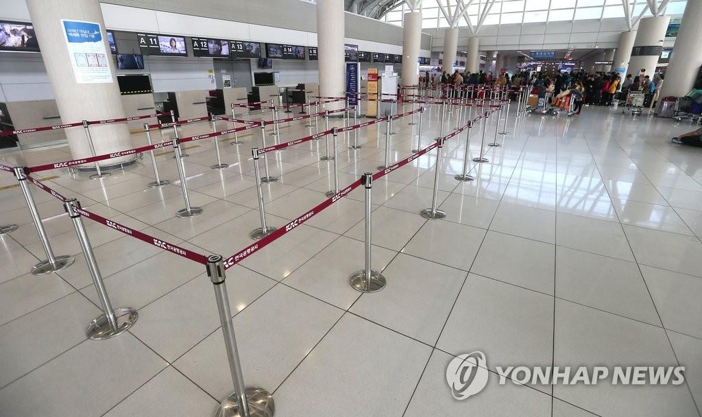 空荡荡的济州国际机场。(韩联社)