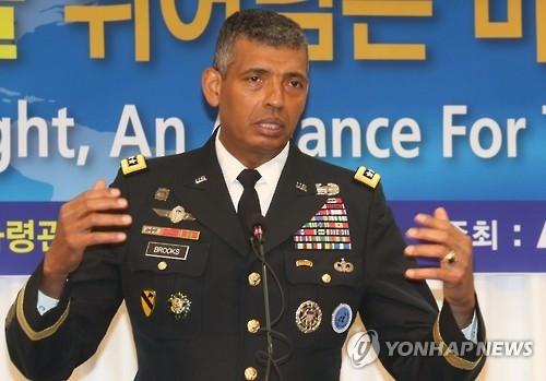韩美联合司令文森特·布鲁克斯(韩联社)