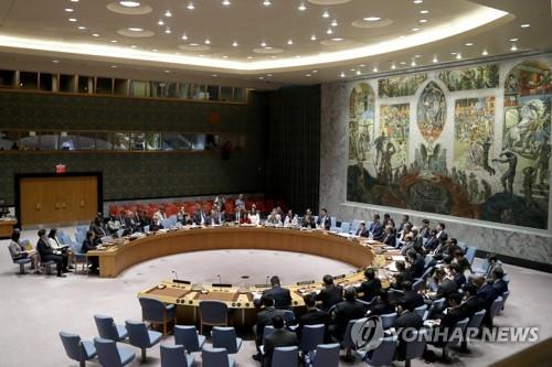 资料图片:联合国安理会开会现场(韩联社/欧新社)