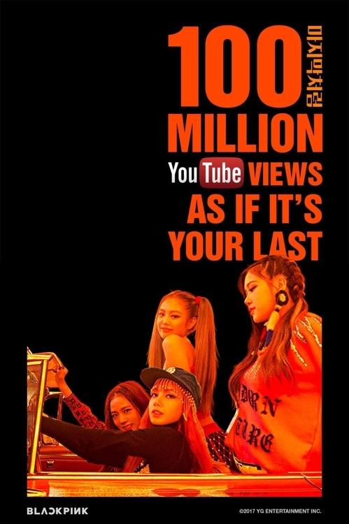 《AS IF IT'S YOUR LAST》MV在YouTube上的播放量破亿纪念图(YG提供)