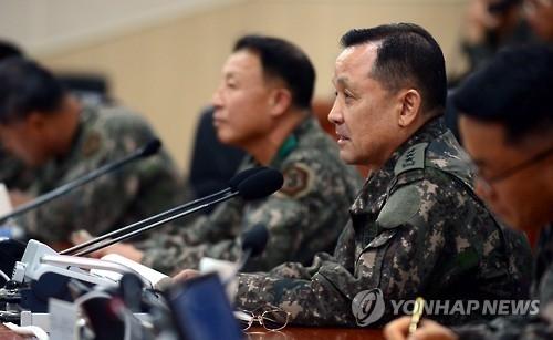 资料图片:去年11月,联参议长李淳镇在作战指挥官会议上发言。(韩联社)