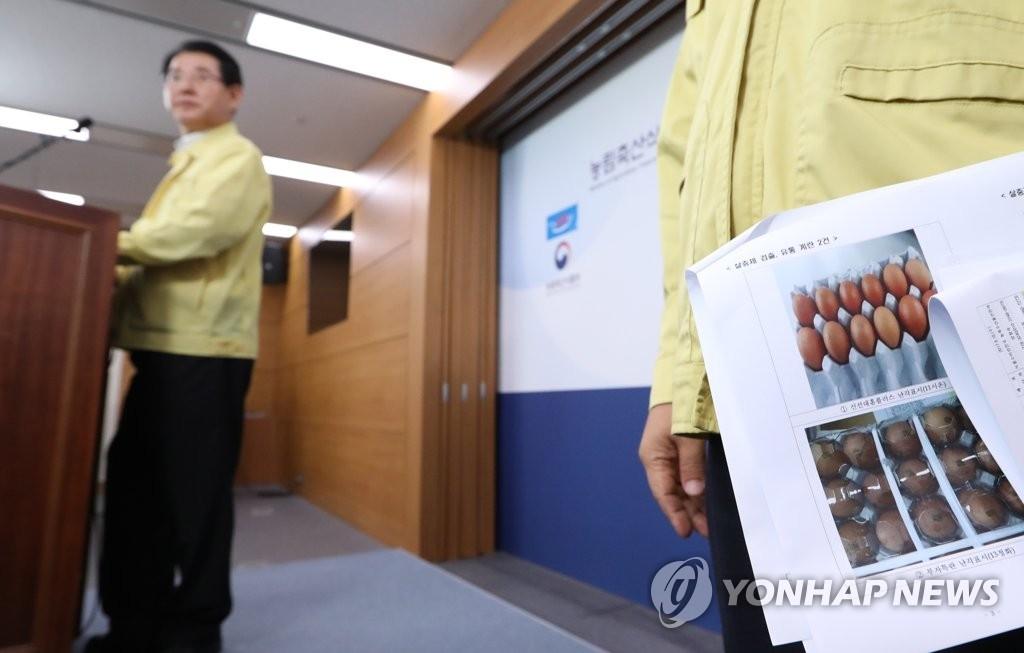 8月16日下午,在世宗政府大楼,韩国农林畜产食品部长官金瑛錄正在就毒鸡蛋事件发表对策。(韩联社)