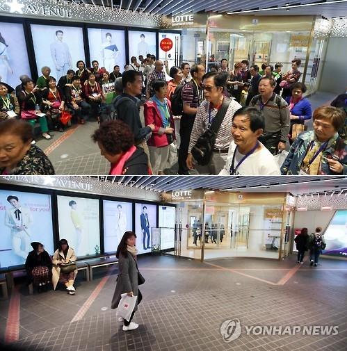 受中方限售韩国游产品影响,访韩中国游客明显减少。图为去年9月(上)和今年3月拍摄的首尔中区乐天免税店情景。(韩联社)