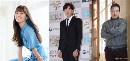 资料图片:演员郑有美(左起)、李光洙、裴成宇(韩联社)