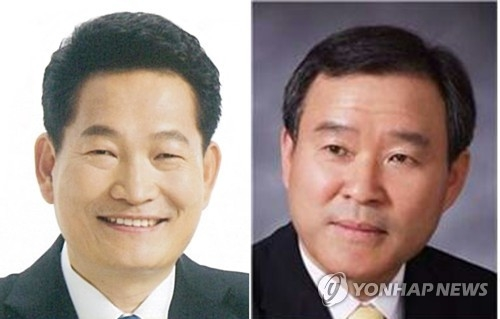 资料图片:左为宋永吉,右为郑淳官。(韩联社)