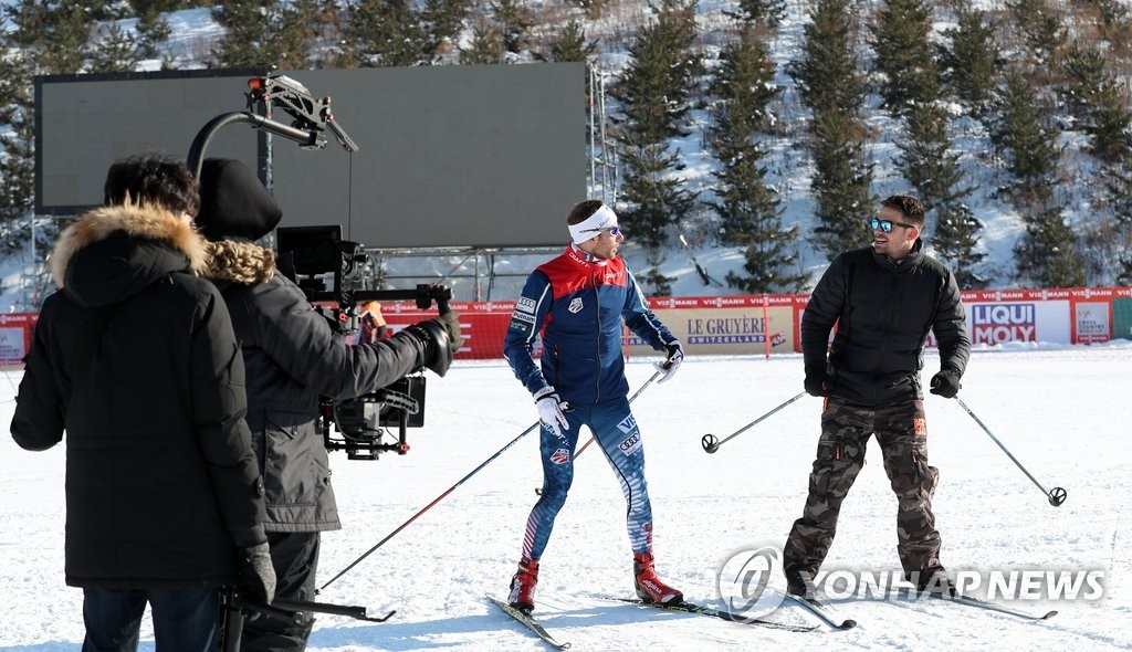 资料图片:美国NBC电视台制作冬奥宣传视频。(韩联社)