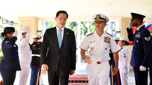 宋永武访问美国太平洋司令部会见哈里斯。(韩联社/韩国国防部提供)