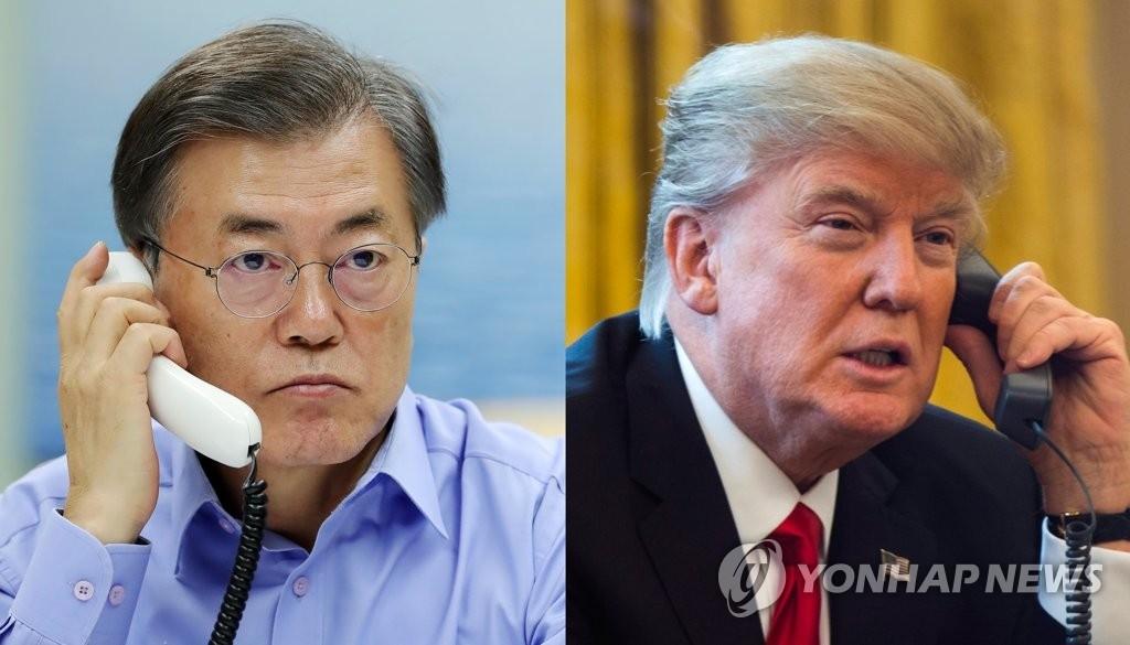 资料图片:韩国总统文在寅(左)与美国总统特朗普通电话(韩联社/青瓦台提供)