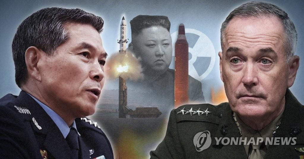 资料图片:左为韩国联参议长郑景斗,右为美国参谋长联席会议主席约瑟夫·邓福德。(韩联社/欧新社)