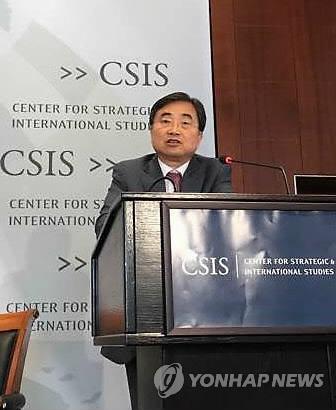 当地时间9月5日,在华盛顿美国战略国际问题研究所,韩外交部第二次官赵显出席韩美战略论坛并发表主旨演讲。(韩联社)