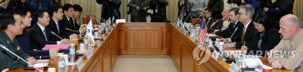 资料图片:2014年1月9日,韩美就防卫费分摊问题进行磋商。(韩联社)