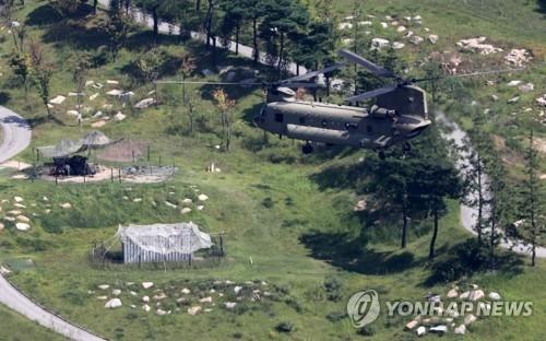 """资料图片:位于庆尚北道星州郡的""""萨德""""基地 (韩联社)"""