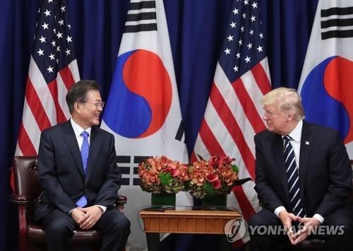 美国东部时间9月21日,在纽约,文在寅和特朗普举行韩美元首会谈。(韩联社)