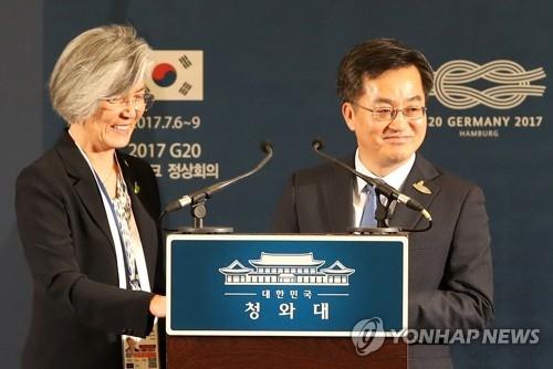 资料图片:韩外交部长康京和(左)与经济副总理兼企划财政部长金东兖(韩联社)