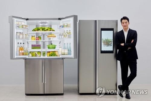 资料图片:图为三星电子智能冰箱Family Hub(韩联社)
