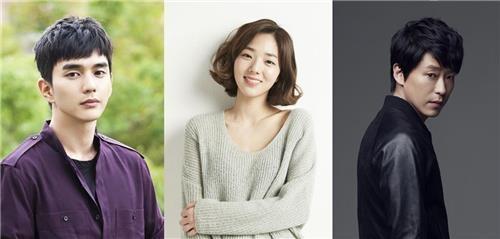 演员俞承豪(左起)、蔡秀彬、严基俊(韩联社/MBC电视台提供)