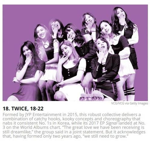 公告牌介绍女团TWICE的网页截图(韩联社/JYP娱乐提供)