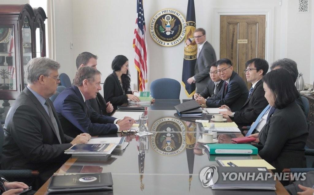当地时间10月4日,在美国华盛顿,韩美举行自贸协定联委会特别会议第二次会议。(韩联社/产业通商资源部提供)