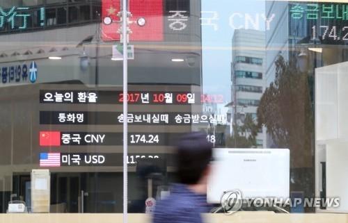 资料图片:10月9日,一名市民路过位于首尔中区的中国建设银行首尔分行。(韩联社)