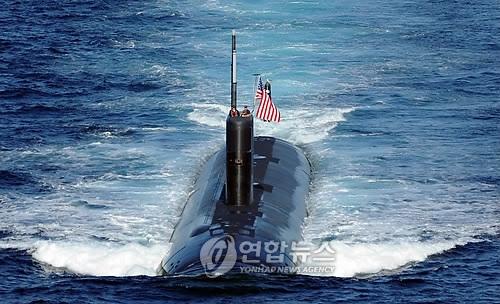 """美国核动力潜艇""""图森""""号(韩联社)"""