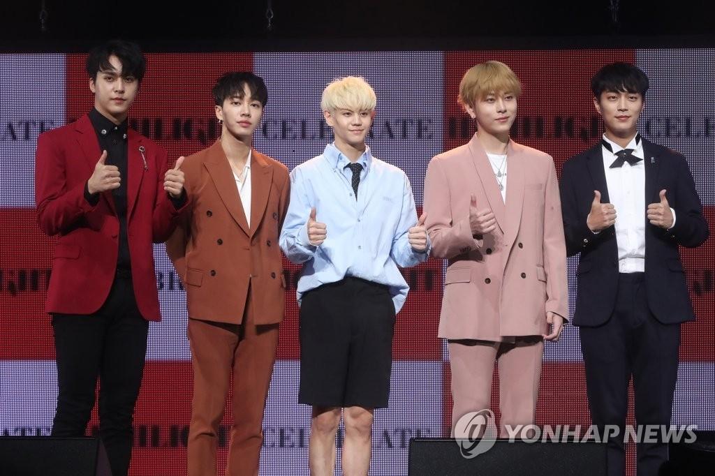 男团Highlight新专辑《CELEBRATE》抢听会现场照(韩联社)