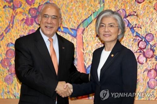 10月18日,韩国外长康京和(右)会见到访的经合组织秘书长古里亚。(韩联社)