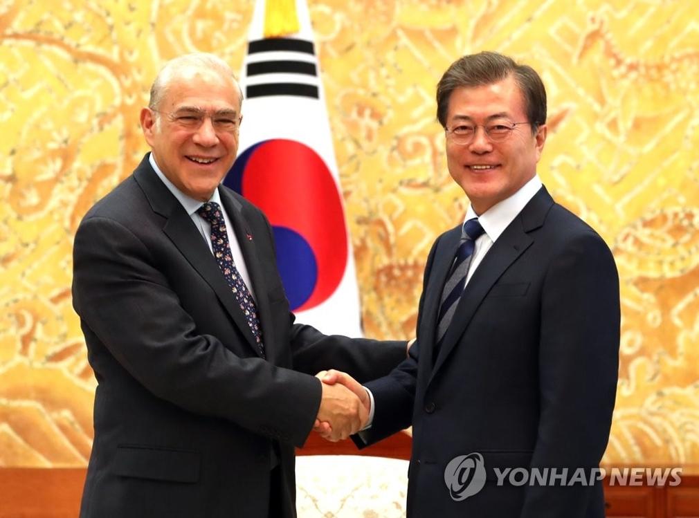 10月19日,在韩国总统府青瓦台,总统文在寅与到访的经合组织秘书长安赫尔·古里亚握手合影。(韩联社)
