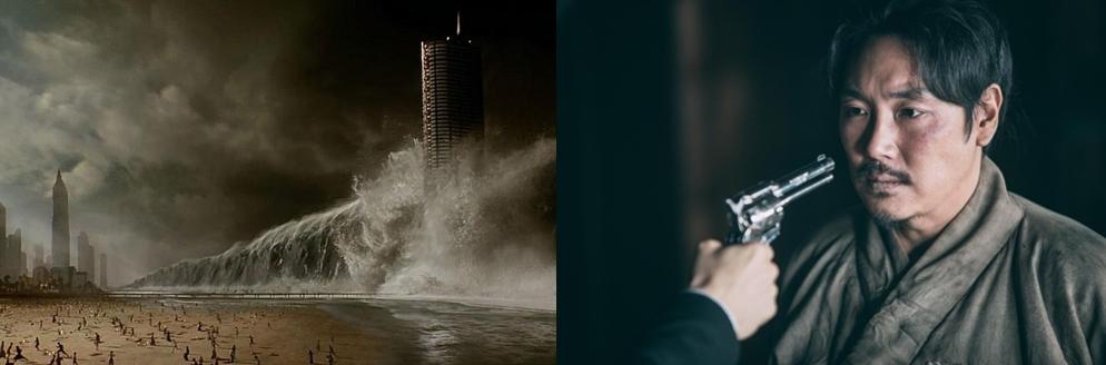 《全球风暴》(左)和《大将金昌洙》剧照(韩联社/各电影发行商提供)