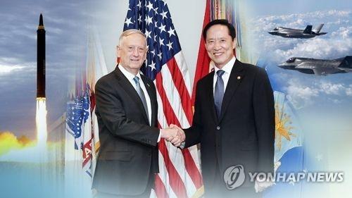 资料图片:韩国防长宋永武(右)与美国防长马蒂斯(韩联社)