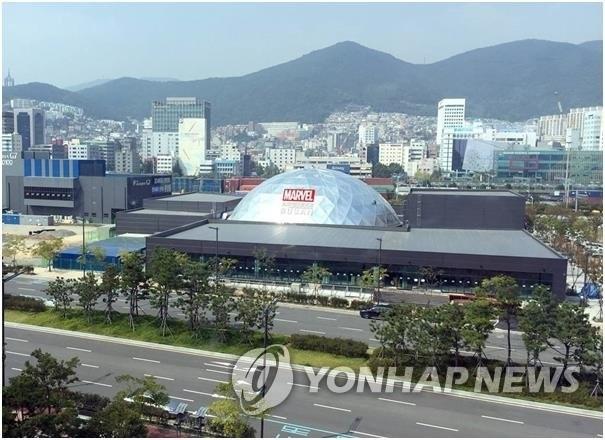 图为釜山漫威虚拟现实体验馆。(韩联社/WOW PLANET提供)