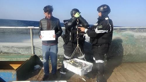 资料图片:中国渔船非法捕捞管制现场(韩联社/木浦海警提供)