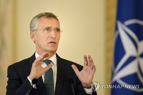 资料图片:北约秘书长斯托尔滕贝格 (韩联社/美联社)