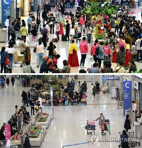 图为去年4月的仁川机场(上)和访韩中国游客减少后的仁川机场。(韩联社)