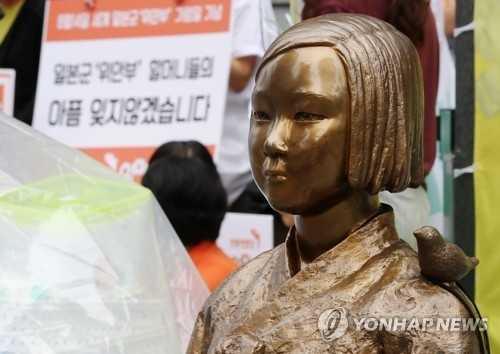 资料图片:图为立于首尔日本驻韩大使馆前的慰安妇纪念铜像。(韩联社)