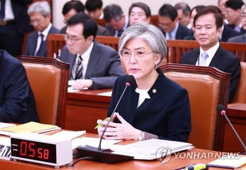 资料图片:10月30日,在国会,韩国外长康京和出席国会外交统一委员会对外交部的国政监查。(韩联社)