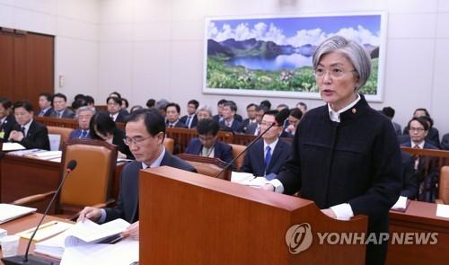 11月6日,在韩国国会,外交部长官康京和介绍明年外交工作方向。(韩联社)