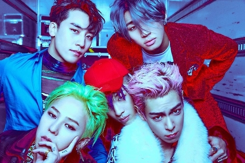 男团BIGBANG,左下为GD。(韩联社/YG娱乐提供)