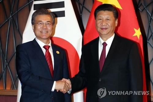 当地时间11月11日,在越南岘港,韩国总统文在寅(左)与中国国家主席习近平在会谈前握手合影。(韩联社 )