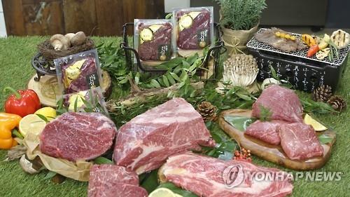 资料图片:韩国农协小包装鲜肉(韩联社)