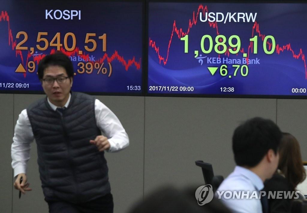 资料图片:11月22日下午,在首尔中区乙支路KEB韩亚银行总行交易大厅,工作人员忙碌不堪。当天韩元对美元汇率收盘报1089.1,较前一交易日下跌6.70。韩国综合股价指数收盘报2540.51,较前一交易日上升9.81点。(韩联社)