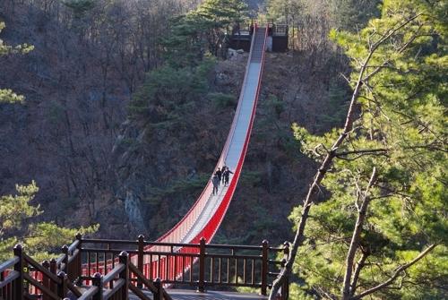 11月23日下午,在绀岳山,游客们小心翼翼地走过云溪索桥。(韩联社记者成演在摄)