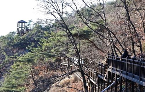 梵轮寺外的迎客路(韩联社记者成演在摄)