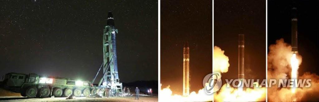 """朝鲜《劳动新闻》29日公开""""火星-15""""型洲际弹道导弹发射场面。图片仅限韩国国内使用,严禁转载复制。(韩联社/朝鲜《劳动新闻》)"""