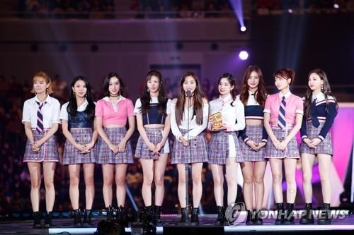 TWICE登台领奖并发表获奖感言。(Mnet提供)