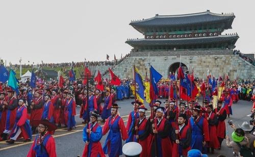 再现正祖祭陵盛况(韩联社记者成演在摄)