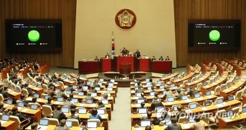 资料图片:12月6日凌晨,韩国国会召开全体会议,表决通过2018年预算案。(韩联社)